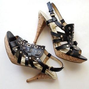 Michael Kors black + gold gladiator cork heels